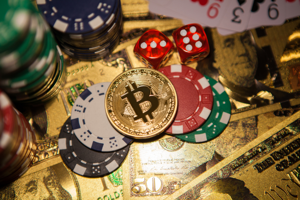 Colorful,Casino,Chips,,Dollars,,Bitcoins,And,Red,Dice